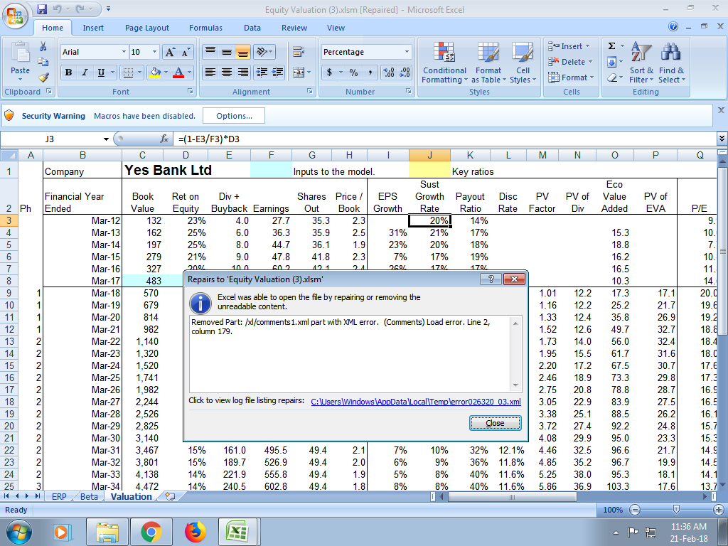 Spreadsheet Model for Valuation of a Company - Stock