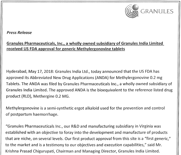 Granules India Ltd - Untested - but worth a good look